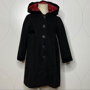 Camilla velvet detail hooded dress coat black 4t